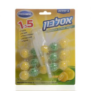אסלבון - מנקה אסלות אוטומטי עוצמתי במיוחד 5 פעולות במוצר אחד, אריזת שלישיה, בניחוח לימון