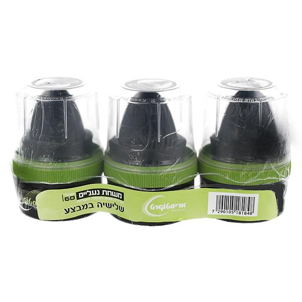 """משחת נעליים +ידית 60 מ""""ל בצבע שחור עשוי מחומרי גלם משובחים, מארז שלישיה"""